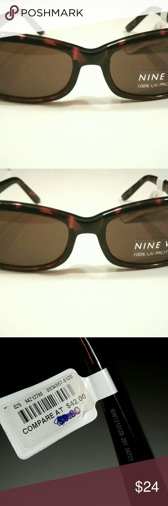 """NEW Nine West Sunglasses Brown Tortoise women's New with Tags , Nine West Tortoise shell design Sunglasses.Rhinestone accents !  Women's  glasses measure 5.5"""" across the temple. Nine West Accessories Glasses"""