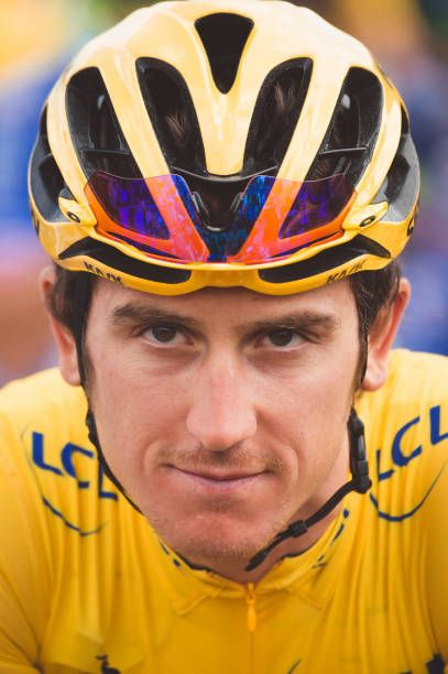 July 4th 2017 Mondorf les Bains to Vittel France Cycling Tour de France Stage 4 Geraint Thomas in the leaders yellow jersey ahead of Stage 4