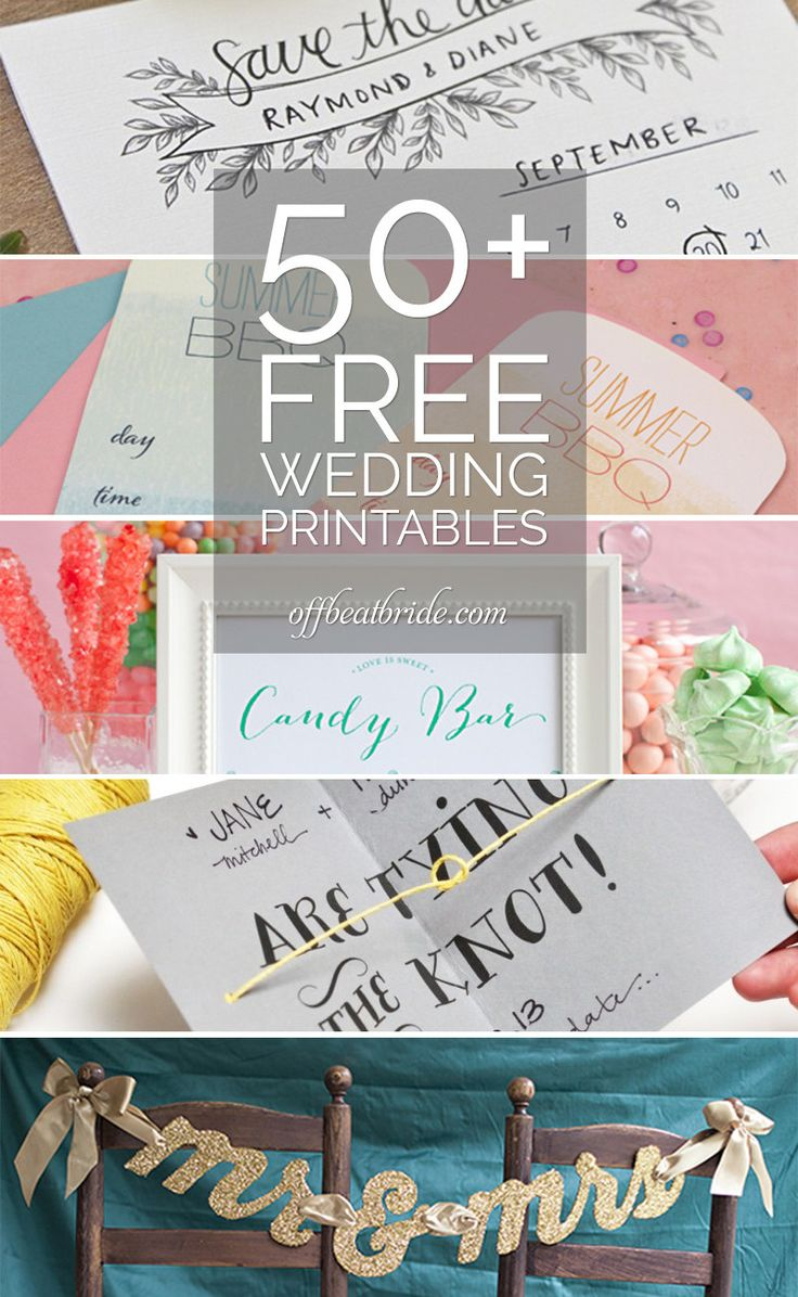 Hey DIY-loving fiends: once upon a time, I went on a mad search for a ton of free wedding printables. We've got another giant batch o' free wedding printables to quench your need to get hands-on wi...