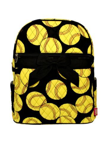 Softball Quilted Large Backpack with Black Ribbon