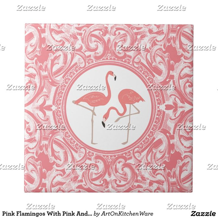 Pink Flamingos With Pink And White Floral Swirls Small Square Tile