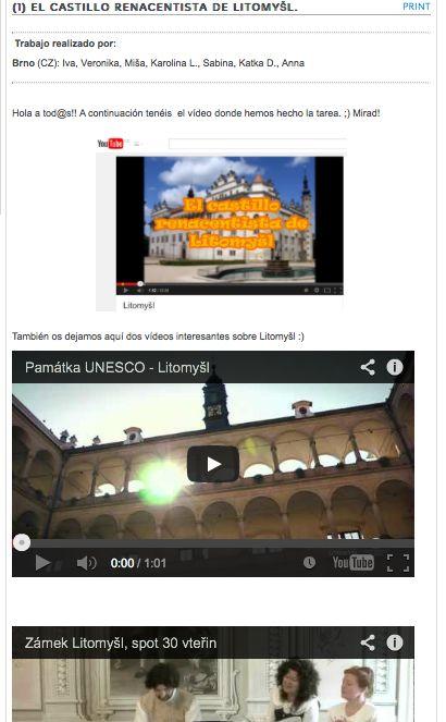 El castillo renacentista de Litomyšl: patrimonio de la UNESCO (trabajo de los alumnos/as)