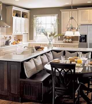 Homey Style Kitchen- like the built in seating backed to the island