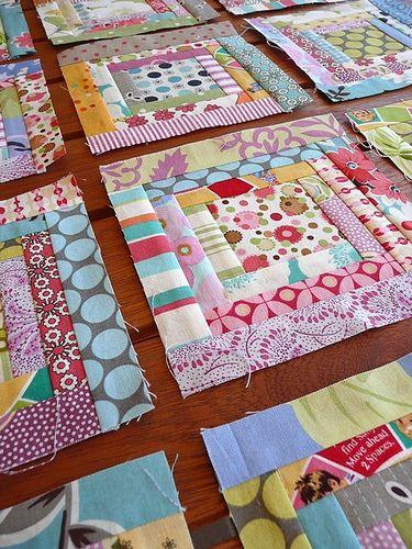 Scrappy log cabin challenge blocks