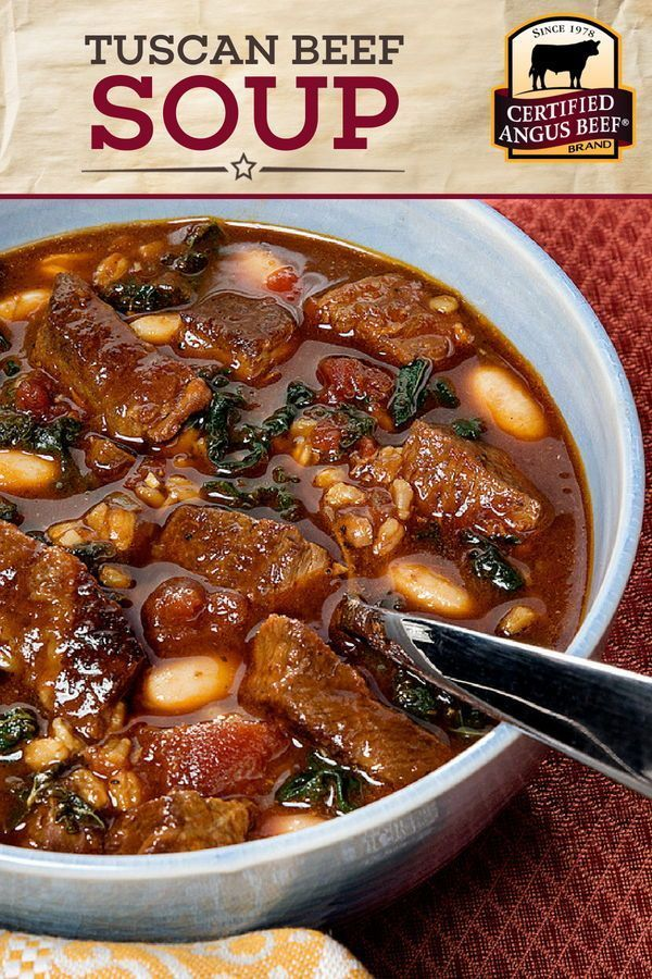 Mar 30, 2020 – This Tuscan Beef Soup recipe will leave you feeling full and happy! Made with the BEST Certified Angus Be…