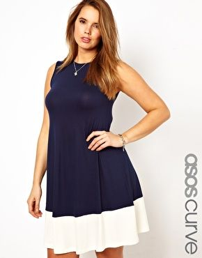 ASOS CURVE Exclusive Swing Dress With Color Block Hem