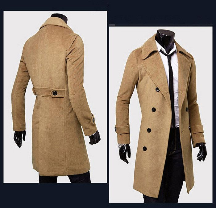 Solid Color Turndown Collar Double-Breasted Design Long Sleeves Woolen Black Trench Coat For Men