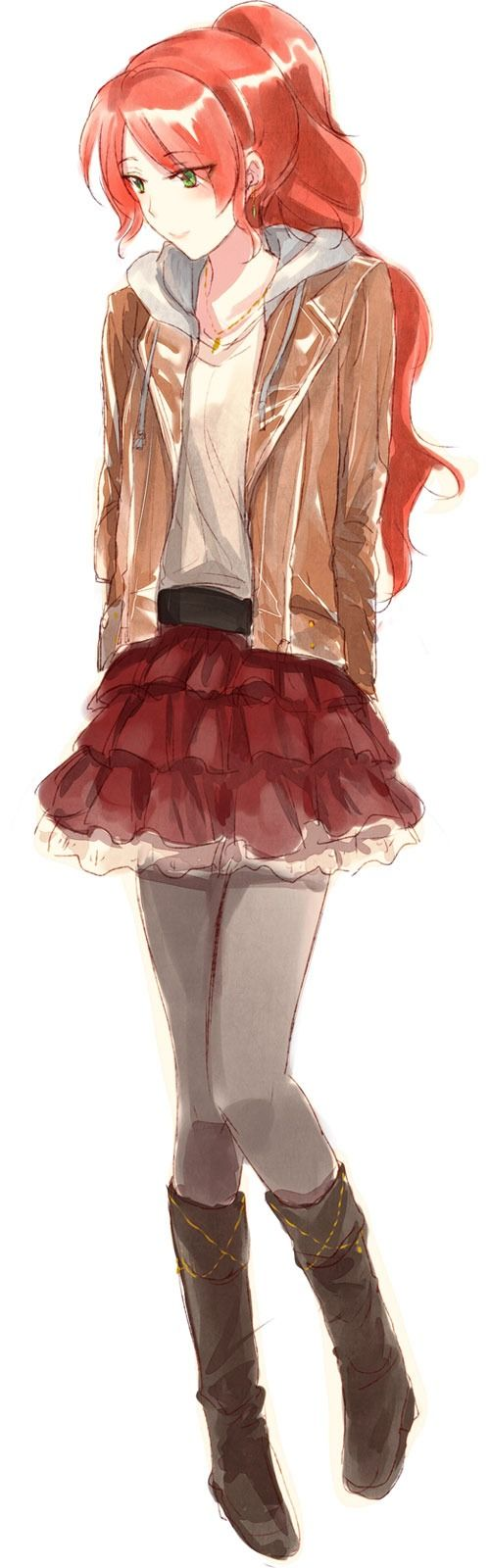☺ Pyrrha sits on a bench overlooking the Vale beach, she smiles as the autumn breeze rolls in, watching sunset                                                                                                                                                     More
