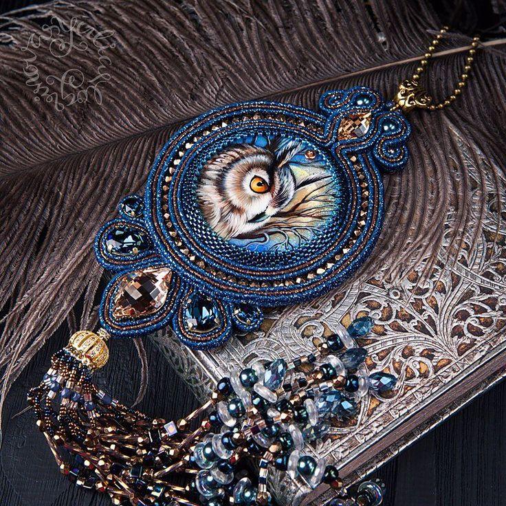 "1,496 Likes, 24 Comments - Yulia Logvinova (@okatava) on Instagram: ""Кулон с совой и кристаллами Swarovski. Можно носить на шёлковой ленте или цепочке. 22000 ₽"""