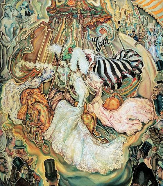 Carousel c 1910  by Gyula Batthyany (Hungarian artist, 1887-1959)