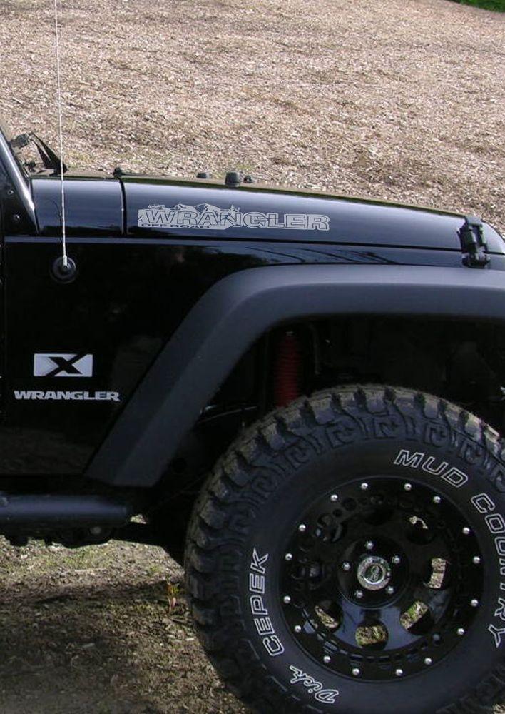 Pair of Wrangler Decal set Jeep stickers hood fender graphic TJ JK CJ YJ rubicon
