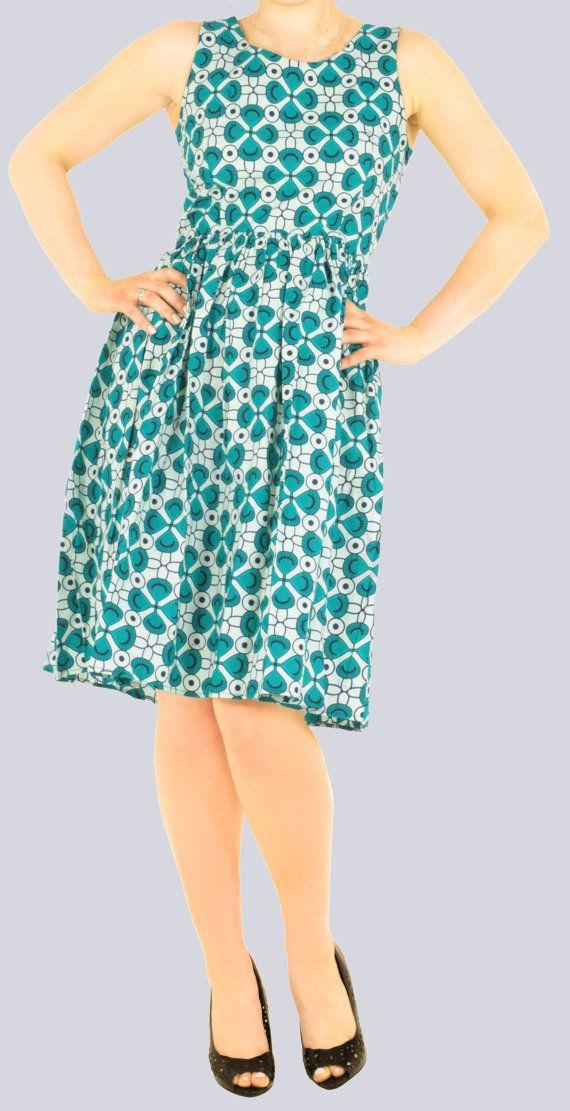 Green Print Dress Corron Dress Summer Dress Spring Dress