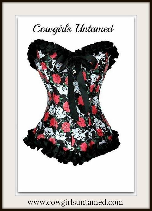 d2bf8243616 CORSET - Hot Pink Skull and Rose Black Satin Ruffle Lace Up Corset Top with  FREE