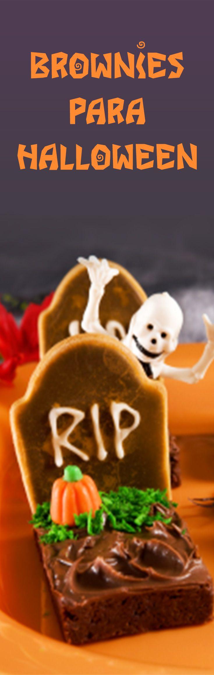 La clásica receta de brownies para festejar halloween con los niños.