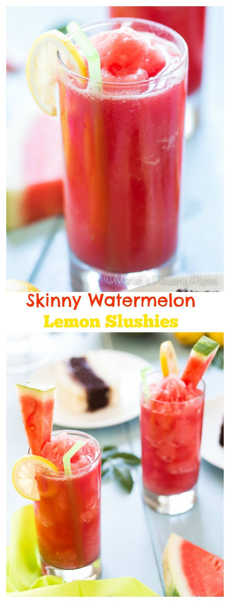 These Skinny Watermelon Lemon Slushies are the perfect way to cool down on a hot summer's day. Thanks to no sugar added, you will be sipping these 3 ingredient treats guilt free!