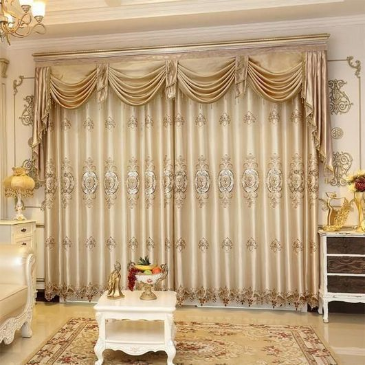 Confeccionadas Cortinas De Lujo Del Bordado Set Cenefa Cortina Escarpada Lr Xiangyufuhua Terminado Co Curtains Living Room Curtains Traditional Curtains