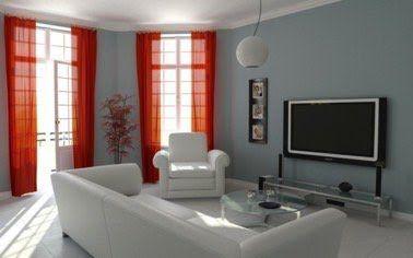 Un salon design avec des rideaux rouges en déco