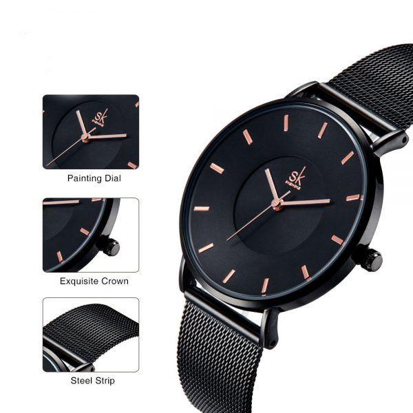 Elegant Ultra thin Black Quartz Watch For Ladies