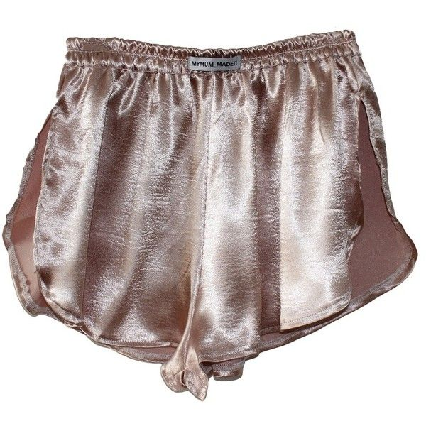 Satin Side Slit Shorts ($29) ❤ liked on Polyvore featuring shorts, bottoms, lingerie and pajamas