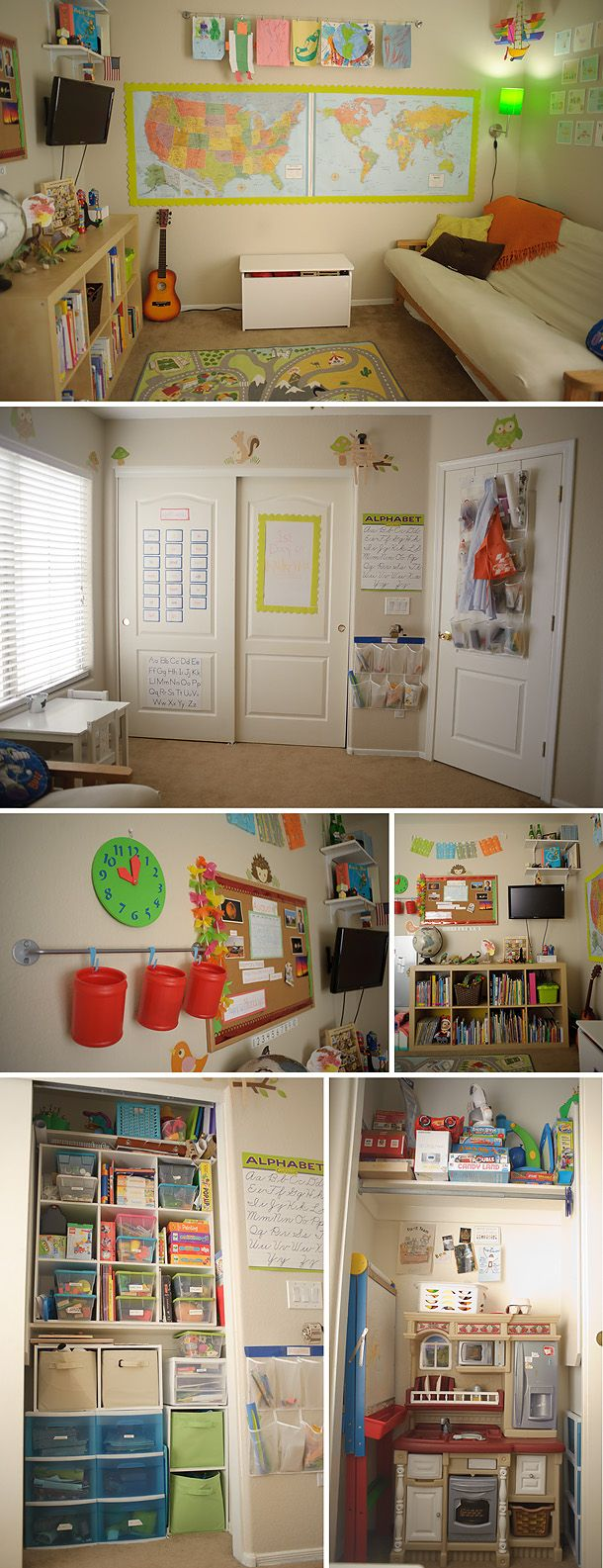 like this room organization.  homeschool school/play space