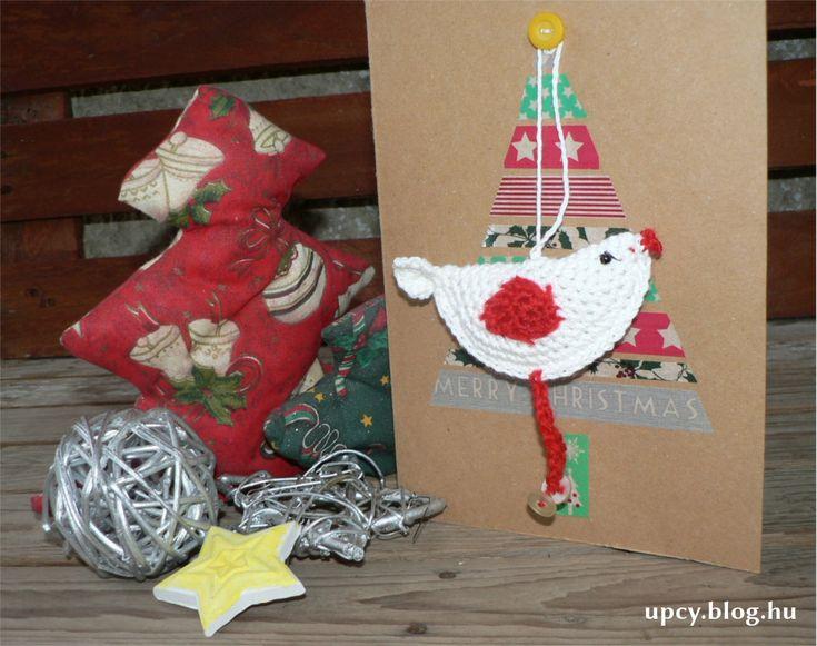 Christmas gift card - washi tape, crochet bird filled with spice. Tutorial. Fűszerrel töltött karácsonyi madár és üdvözlőkártya. Útmutató.
