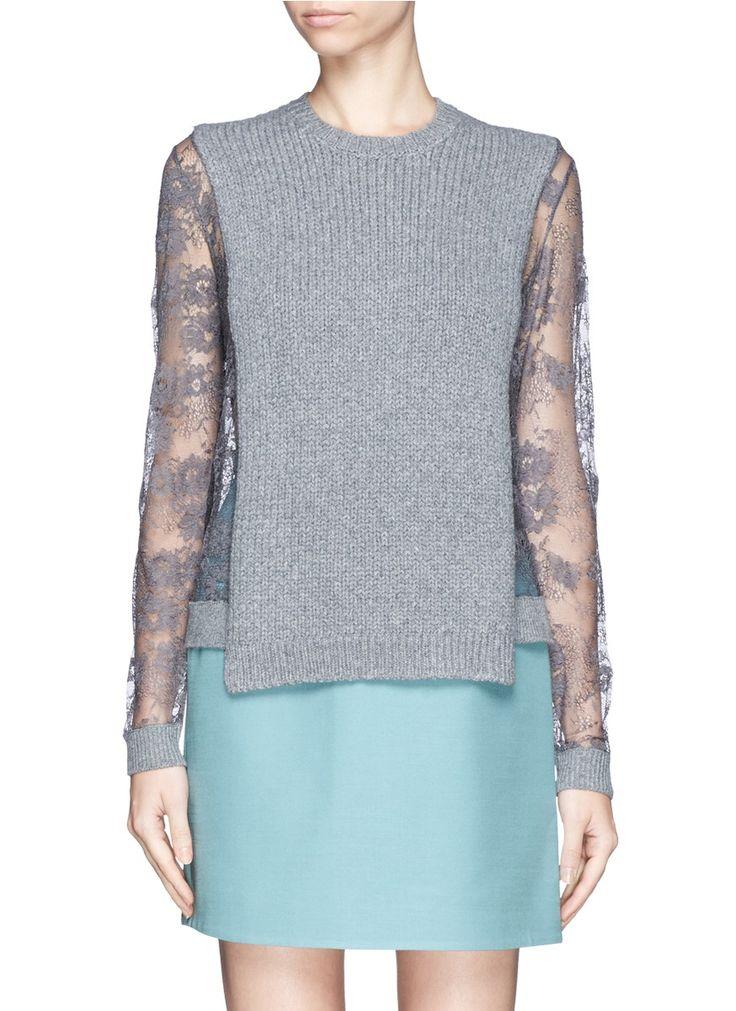 VALENTINO - Lace sleeve sweater