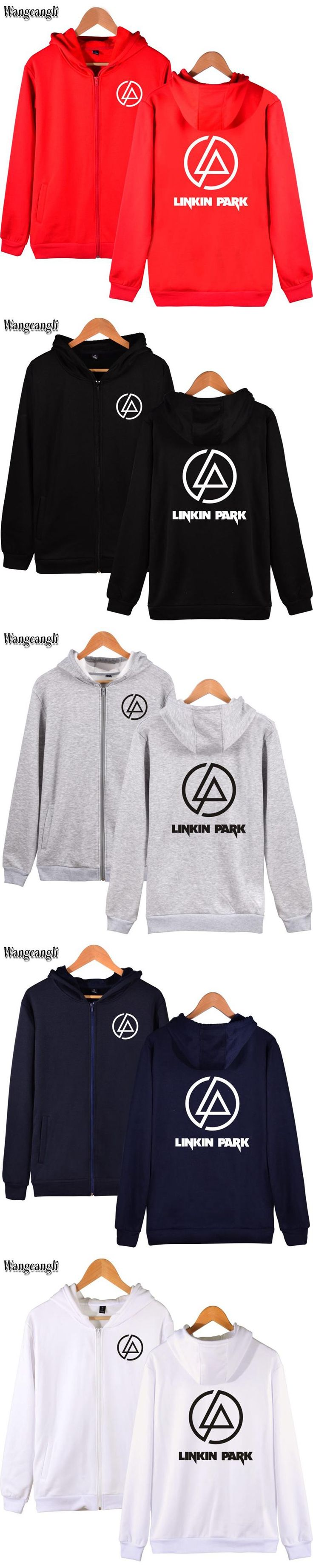 2017 new Linkin Park printing cotton men's street fashion zipper hoodie men's / women's zipper rock band print fashion hooded