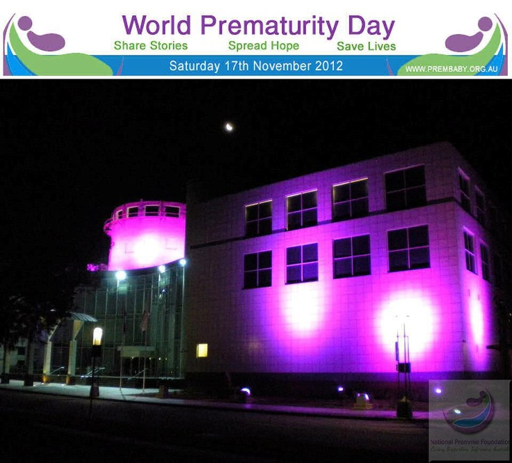 Questacon in Canberra lit up purple in support of Australia and World Prematurity Day 2012.