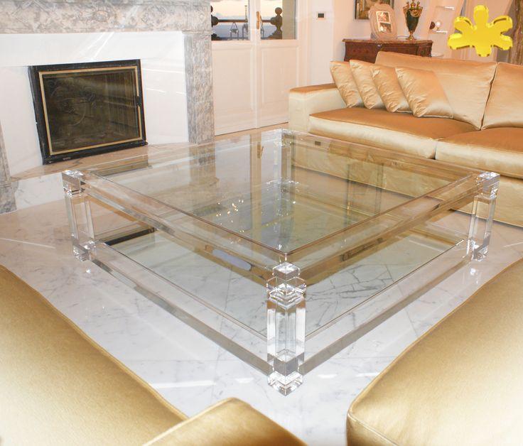 Acrylic interiors - Lucite Acrylic coffe table - TAVOLINI DA SALOTTO IN PLEXIGLASS | Tavolo trasparente in plexiglass 01.mod. A DUE TELAI   | Tavolino plexiglass cm.140 x 140 h.42 - telai sp.mm.50 - gambe sez.mm.80 - gola singola sulle gambe #lucite #design #homedecor #acrylic