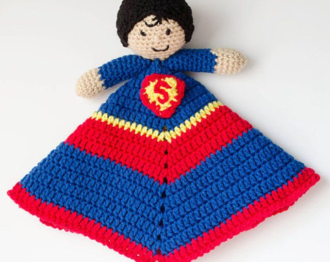 Super Hero Kid Lovey - CROCHET PATTERN instant download - blankie, blankey,  security blanket