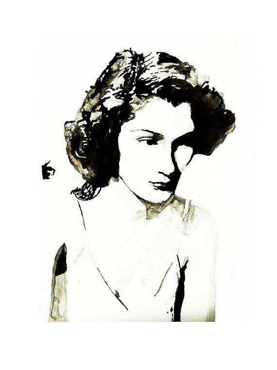 POSTER MOVIE GIRL da dipinto originale in di BIANCONIwatercolors