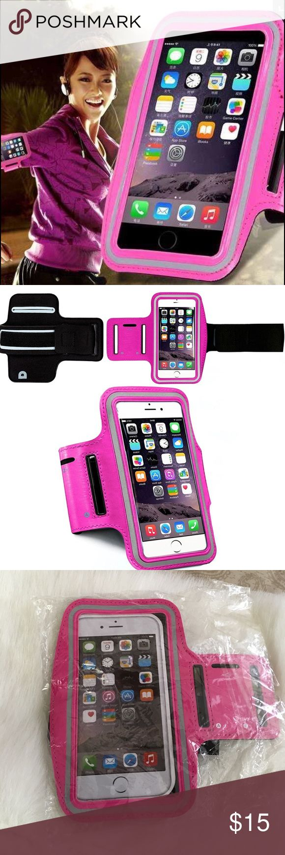 iPhone Sports Arm Band This armband strap case is designed exclusively for the iPhone 6 Plus. With a fully adjustable strap, the minimum arm circumference of 10.2 inches or 26cm and a reaches a maximum arm circumference of 17.3 inches or 44cm. Will fit iPhone 6 Plus ONLY. This water resistant armband is suitable for use with the player only and will NOT fit if the iPhone 6 Plus is cased. The water resistant feature of the case is perfect for the rain or snow. This armband is not waterproof…