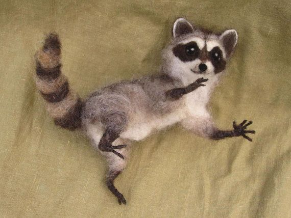 Needle felted raccoon poseable woodland animal by Ainigmati, $181.00