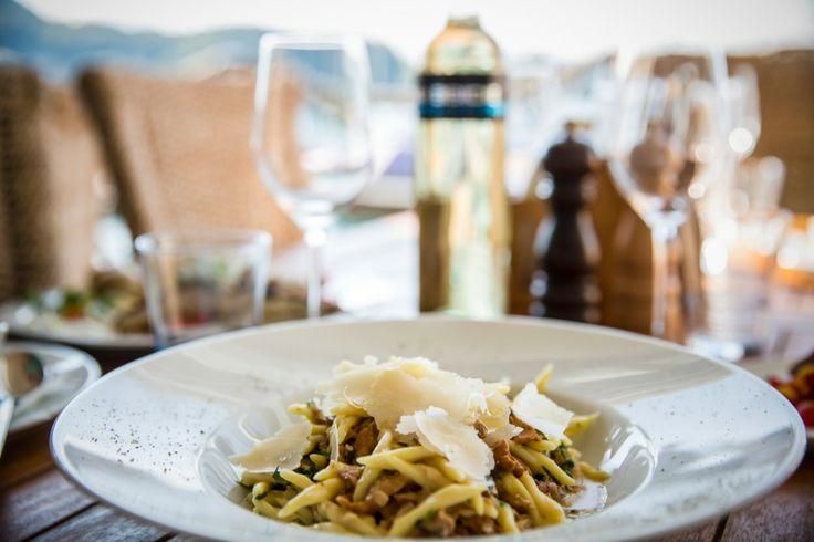 Pasta with organic mushrooms and Grana Cheese