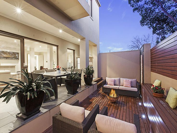 modern decked courtyard