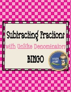 Subtracting Fractions with Unlike Denominators BINGO game provides practice with subtracting fractions with unlike denominators. Some answers will need to be simplified. This BINGO game includes 30 different BINGO cards, a set of 2 blank cards, and 72 calling cards.