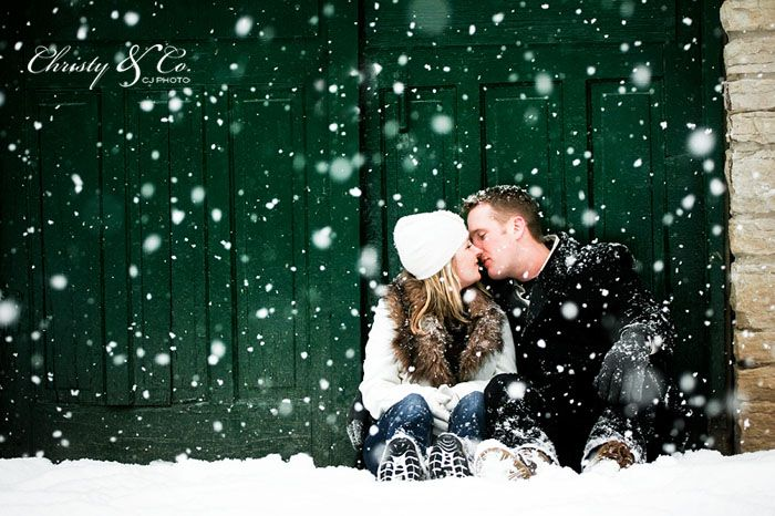Cute snowy engagement photo