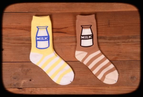 Meet your calcium needs with these adorable milk bottle socks: available in vanilla (yellow) and chocolate (brown), socks will fit up to a size EU 39.