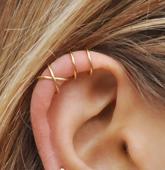 Set of 2 Ear Cuffs, Ear Cuff, No Piercing,Earcuff,Double Ear Cuff and Criss Cross Ear Cuff,Cartilage,Simple Ear Cuff,Fake Cartilage Earring