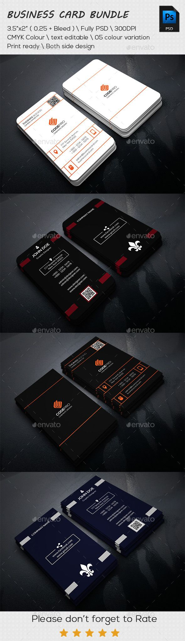 Vertical Business Card Bundle Template #design Download: http://graphicriver.net/item/vertical-business-card-bundle-/11531207?ref=ksioks
