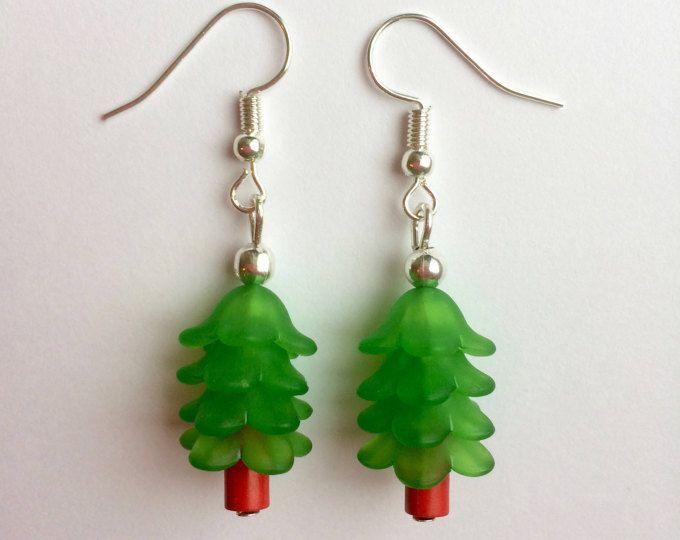 Christmas tree earrings, christmas earrings, festive earrings, xmas, stocking filler, fir tree, evergreen, present, mini christmas tree.