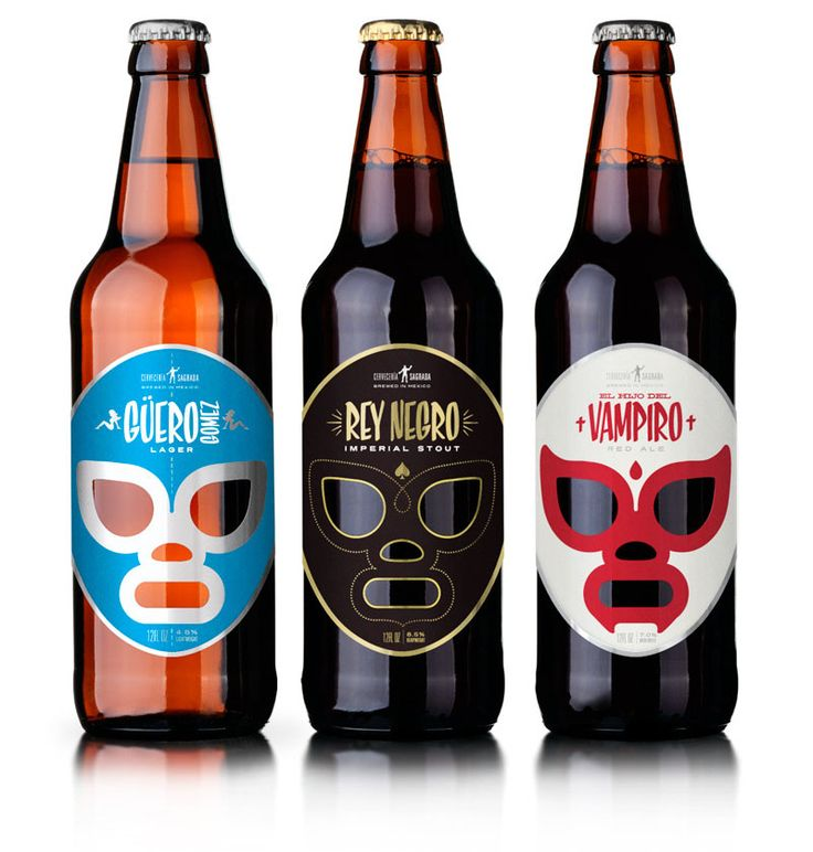 Lucha Libre! Mexican wrestling-inspired labels make me want to bodyslam this beer.