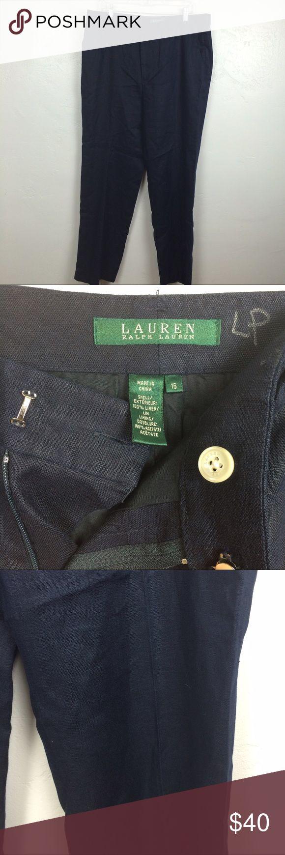 Ralph Lauren navy blue women's career pants linen Perfect condition Ralph Lauren pants that can be a summer option to a work outfit. Looks very professional but comfortable too ! Ralph Lauren Pants Straight Leg