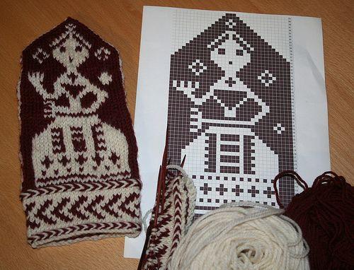Finnväv inspired mittens