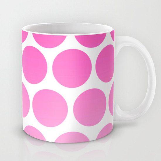 Pink Polka Dot Coffee Mug - Hot Pink and White - 11 oz Mug - 15 oz Mug - Original Art - Ceramic Coffee Cup - Made to Order (30.00 USD) by ShelleysCrochetOle