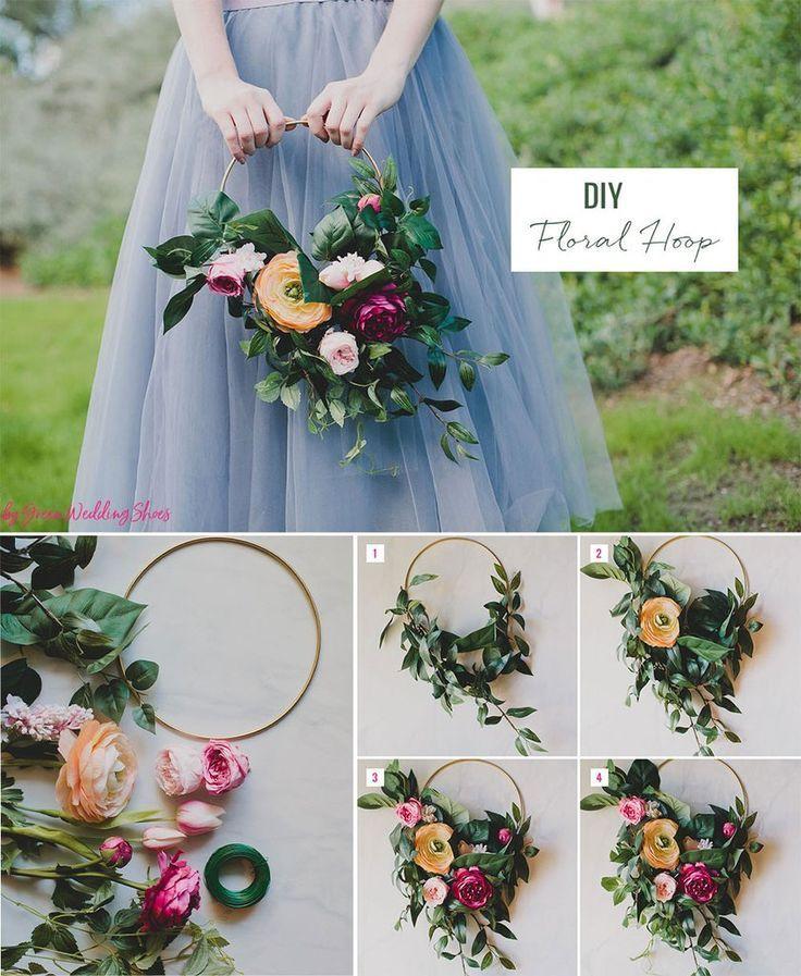 DIY Silk Flower Hoop Bouquet in 2020 Diy wedding flowers