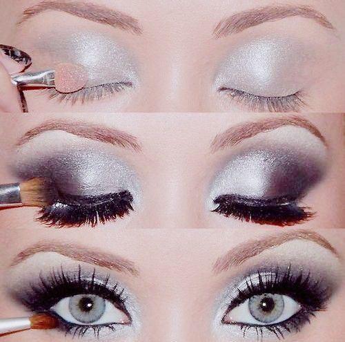 Silver -> Black gradient smokey eyes
