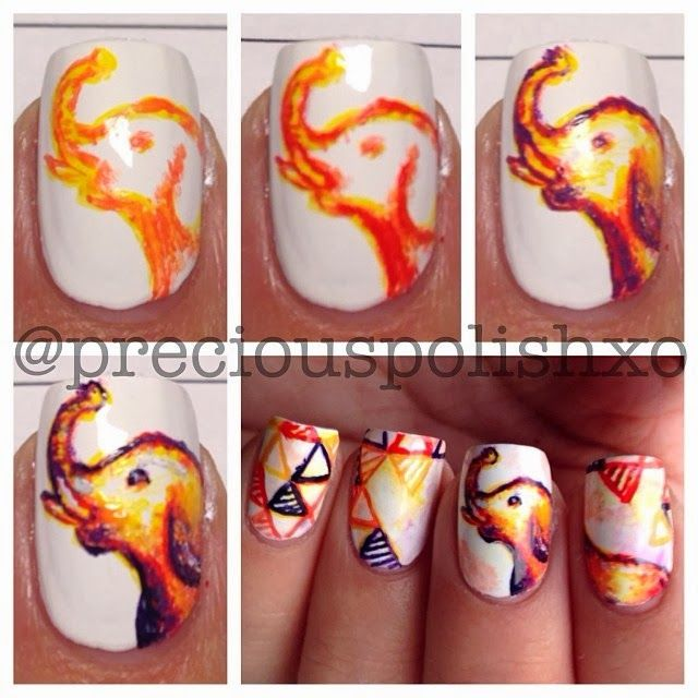 elephant nail art                                                                                                                                                                                 More