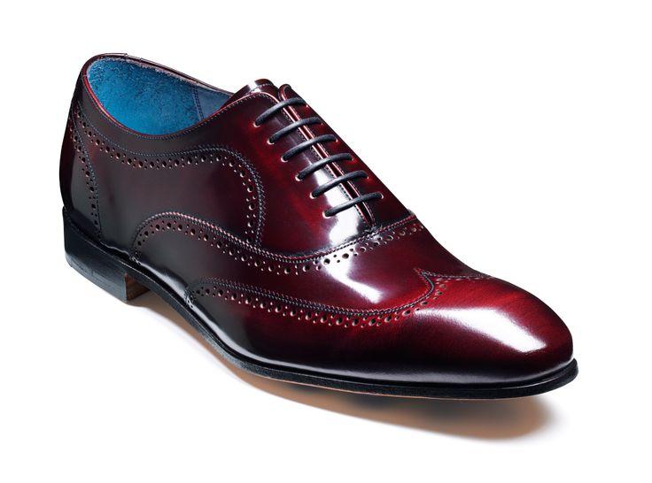 Barker Holmes - Burgundy cobbler Mens Hi-Shine oxford semi-brogue wingtip shoe http://www.robinsonsshoes.com/barker-holmes.html