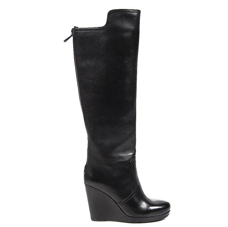 Prada Linea Ladies Leather Boots BLACK #PRADA #KneeHighBoots #Clubwear